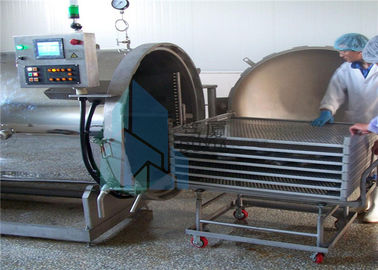 4 - Wheel Trolley Sterilization Baskets Stainless Steel For Canned Meat Production Line